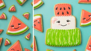 ADORABLE WATERMELON CAKE COOKIE and WATERMELON SLICE COOKIES