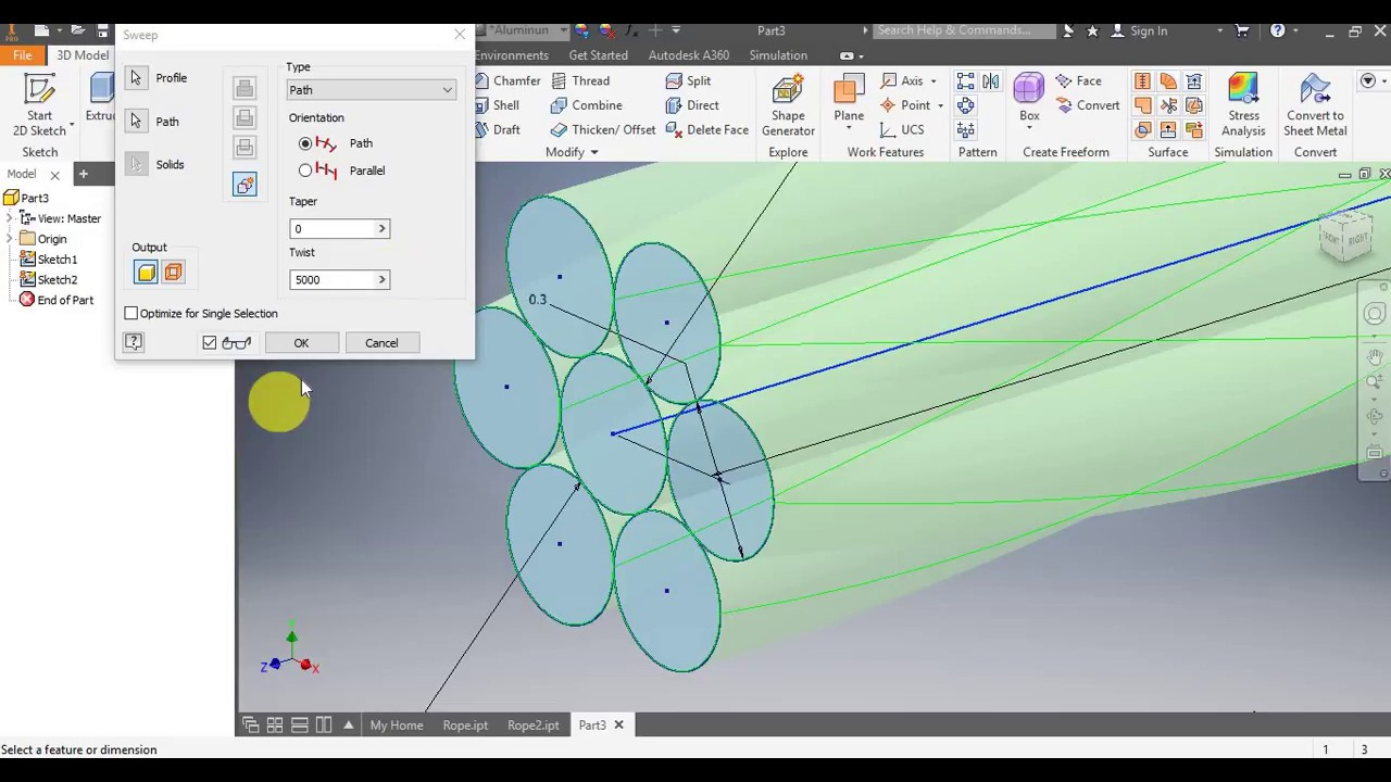 Inventor 2018 Tutorial 4 - Modelling a Wire Rope - YouTube