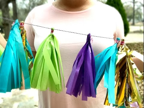 HOW TO: Make a tassel garland with tissue paper! (DIY)