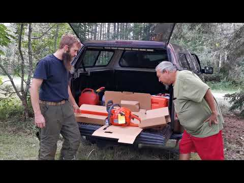 Husqvarna 455 Rancher Chainsaw Review Cutting Felling Trees Unboxing