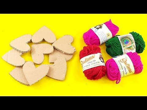 amazing home decorating idea Use waste cardboard & color woolen | DIY HOME DECO