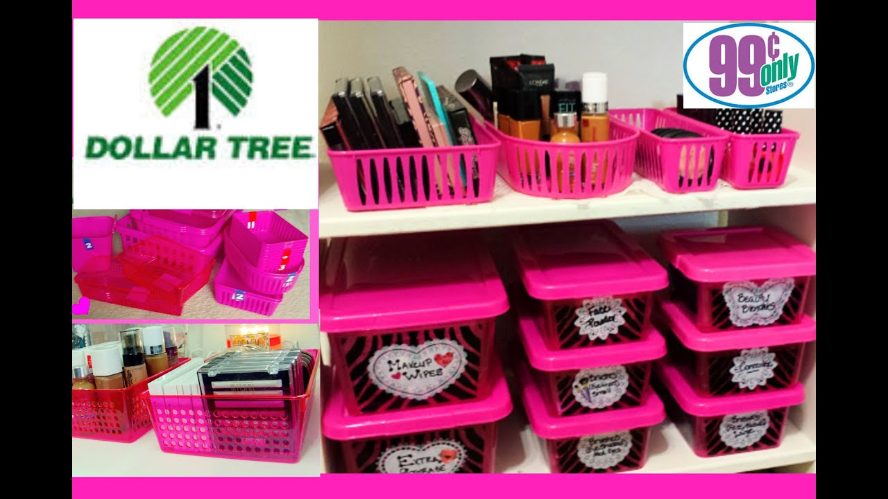 $1 Makeup Organization U0026 Storage Ideas | Dollar Tree U0026 99 Cents Only    YouTube