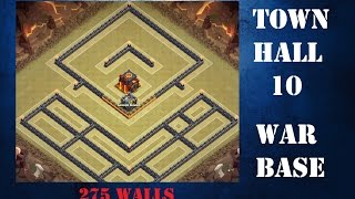 CLASH OF CLANS | New Town Hall 10 War Base - 275 walls - With Live Defense Replay