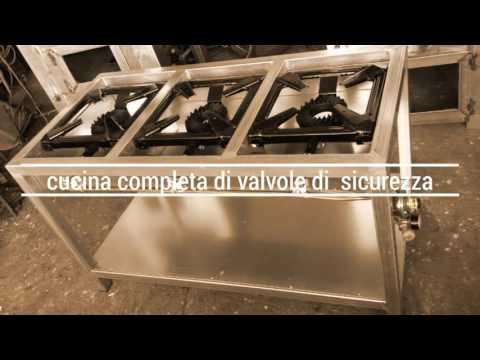 Cucina a gas 3 fuochi da 180 industriale  YouTube