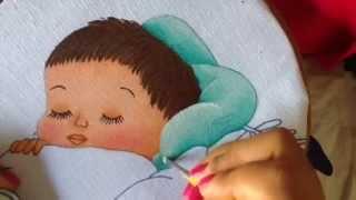 Pintura en tela almohada y cobija de niño # 3 con cony