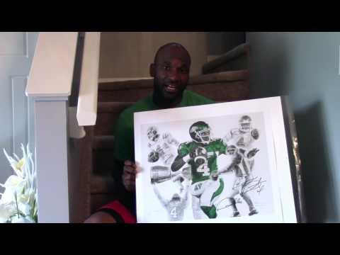 """Darian Durant """"Doubles"""" Jeremy Bresciani Art Saskatchewan Roughriders"""