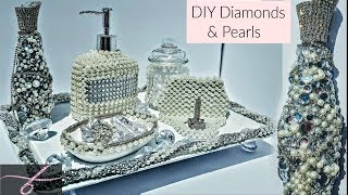 DIY Dollar Tree Room Decor Diamonds 💎 & Pearls 6 piece Vanity Set / EXTREME GLAM