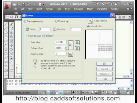beginner autocad tutorial rectangular arrays