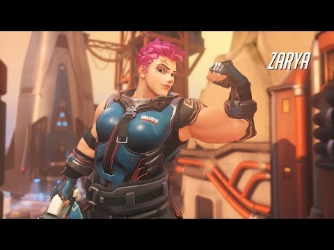 Overwatch Zarya Tank Class Gameplay - Blizzard Shooter (Overwatch) (Zarya Gameplay)