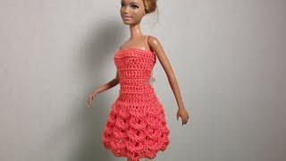 Платье для Барби. Объемный 3D узор. Мастер-класс.