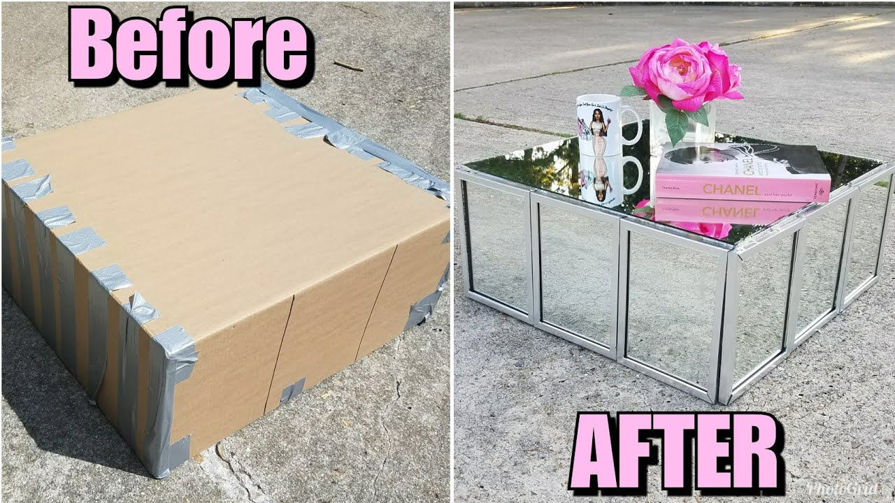 Diy Mirrored Coffee Table Made From Cardboard Z Gallerie Inspired Luxury For Less Ikea Hack