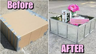 Diy: Mirrored Coffee Table Made From Cardboard!! Z Gallerie Inspired | Luxury For Less! Ikea Hack