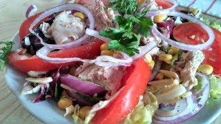 Салат з тунцем | Салат с консервированным тунцом