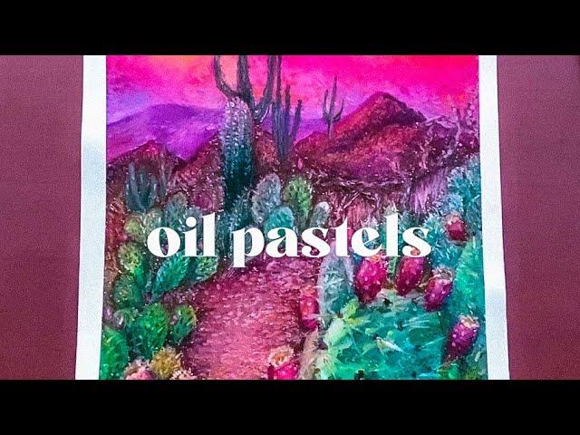 """[VIDEO] OIL PASTEL   """"Desert Flowers"""""""