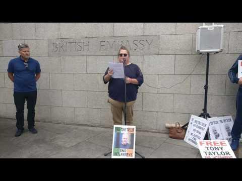 Free Tony Taylor Protest British Embassy Dublin Mags Glennon