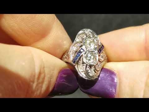 Antique Art Deco Toi at Moi Ring Old European Cut Diamond Sapphire18k Gold 1920s