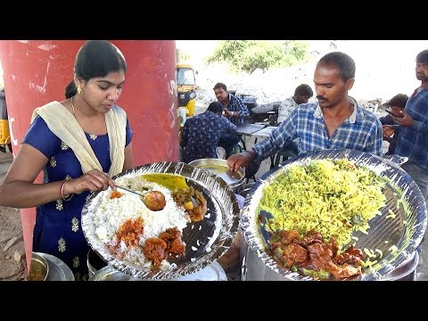 Delicious Roadside Veg & Non Veg Meals | Chicken Rice/Boti Rice/Fish Rice | Street Food Hyderabad