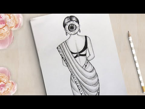 How to draw a Gorgeous Traditional Girl with Saree | Saree Drawing | girl drawing