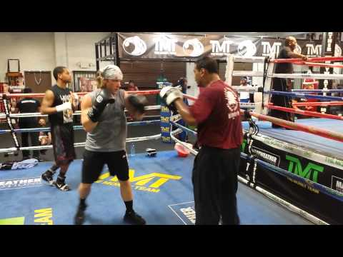 Amateur boxer Phil Rosen mitt work w trainer Otis Pimpleton Jr
