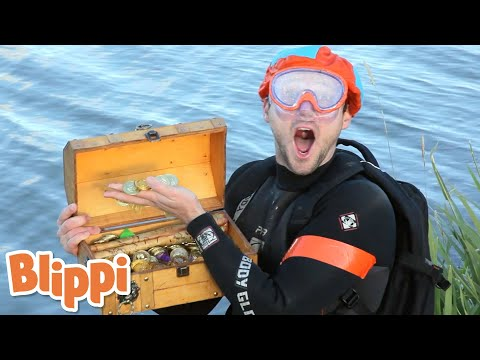 Blippi Finds Buried Treasure | Blippi | Storytime With Blipp
