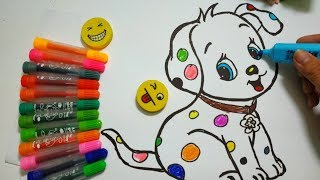 How to draw Dalmatian colorful Easy | Colors For Kids Learning