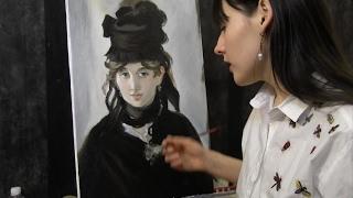 Портрет Берты Моризо, Эдуард Мане, 2 часть, полный видеоурок, копируем импрессионизм, портрет маслом