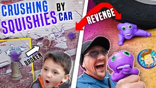 SQUISHY MONKEY vs CAR!!  CAUGHT HIM BREAKING STUFF ON SECURITY CAMERA!!  FV FAMILY Crushing Things