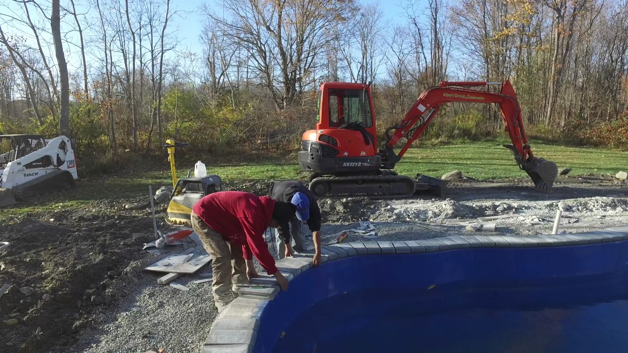 How to install bullnose paver coping on a swimming pool - Installing pavers around swimming pool ...