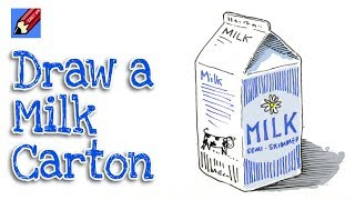 How to Draw a Carton of Milk Real Easy for Kids and Beginners