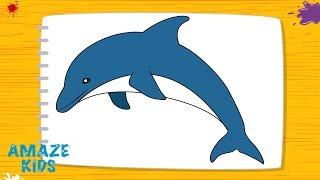 Как Нарисовать Животных Дельфина для Детей🐬 Рисунки Своими Руками. Уроки Рисования для Начинающих