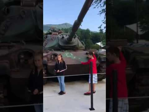 Cherokee North Carolina veterans Park tank and Indian village August 2017