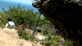 友ヶ島 灯台から下山途中道脇の洞窟を抜けると