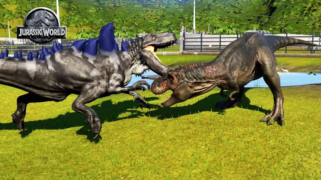 Godzilla vs T-rax   Jurassic World Evolution Dinosaurs Battle