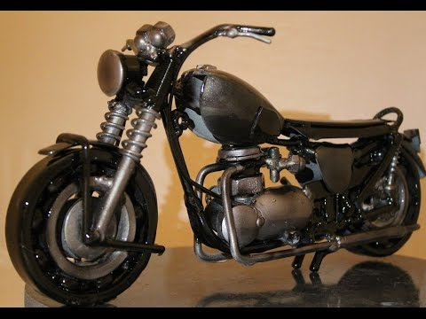 Vintage Motorcycle made from recycled metal, Weld Scrap metal sculpture
