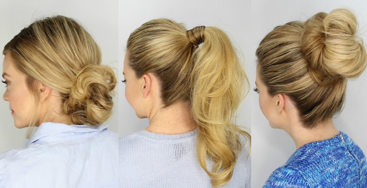 3 Easy 5 Minute Hairstyles Youtube