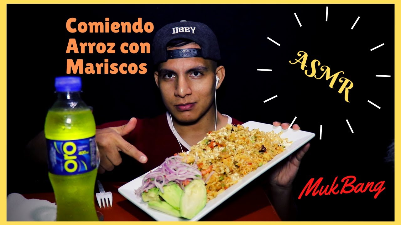 ASMR Comiendo Arroz con Mariscos-mukbang-asmr en español.