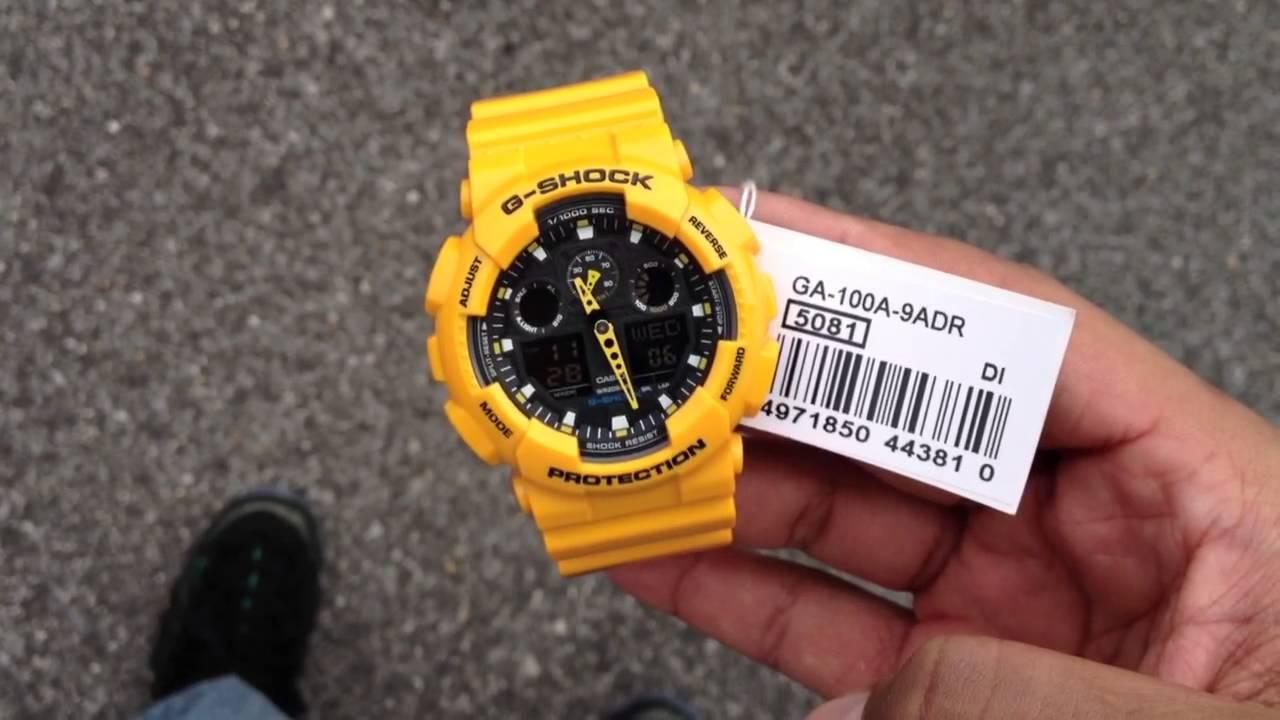 G Shock Watch Ga100a 9adr Yellow Gold