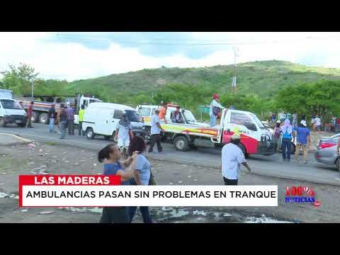 Ambulancia pasa sin problemas en tranque Las Maderas, Nicaragua.