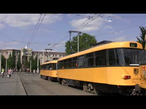 Trams in Dresden, Saxony, Germany - July 2015