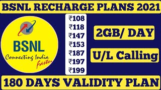 BSNL 4g Recharge Plans 2021 || BSNL New Best Plans Unlimited Calling & 2 GB Per Day 4G Data