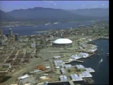Aerial view of downtown Vancouver in about 1984 or 1985