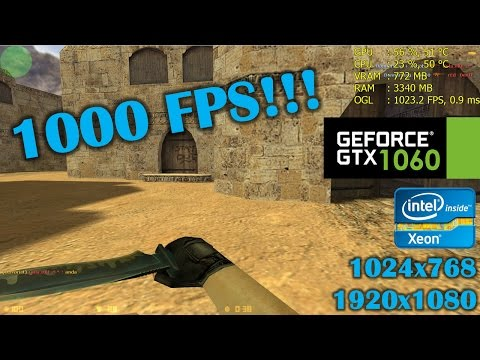 Download Youtube: GTX 1060 | Counter Strike 1.6 - 1024x768, 1080p, 1000 FPS lol
