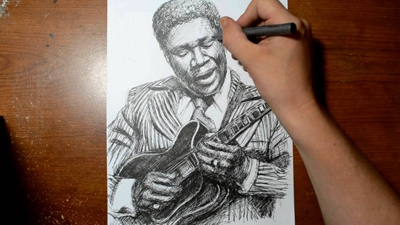 Fine Line Art : Drawing bb king with a fine line pen quick sketch youtube
