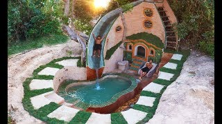 Build Beautiful Swimming Pool With Water Slide On The Underground Temple & Fish Pond. Part 3