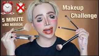 Thử thách trang điểm KHÔNG GƯƠNG + TRONG 5 PHÚT | 5 Minute NO MIRROR Makeup Challenge [Ty Lê]