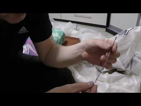 Ремонт строп для кайта, делаем петлю и зашиваем