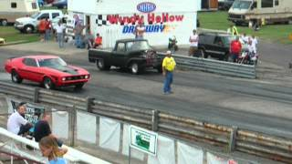 Drag Racing Ford Pickup truck at Windy Hollow Dragway.  Big block Ford powered.