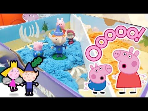 PEPPA PIG MASHA  BEN E HOLLY  KINETIC SAND - giochi per bambini e bambine - nascondino nella sabbia