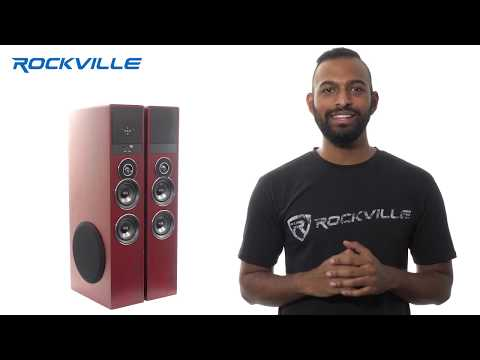 """Rockville TM80 White, Black, Cherry Powered Home Theater Tower Speakers 8"""" Sub Bluetooth USB"""