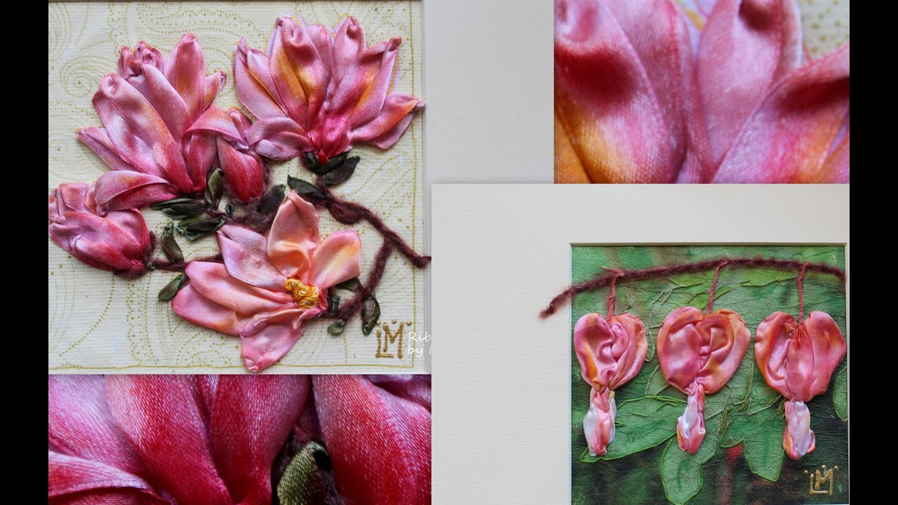 Ribbon work bed sheets designs - Magnolia Art Floral Art Wall Textiles Ribbon Embroidery Gift For Her Youtube